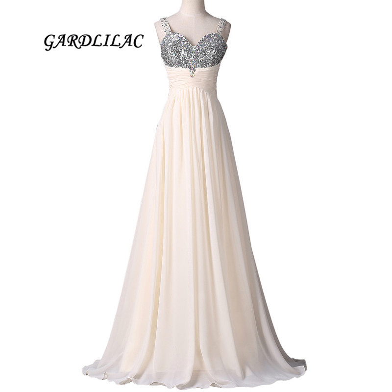 New Spaghetti Strap Long   Prom     Dresses   Champagne Chiffon Evening   Prom   Gowns Crystal Beads Wedding Party Gowns