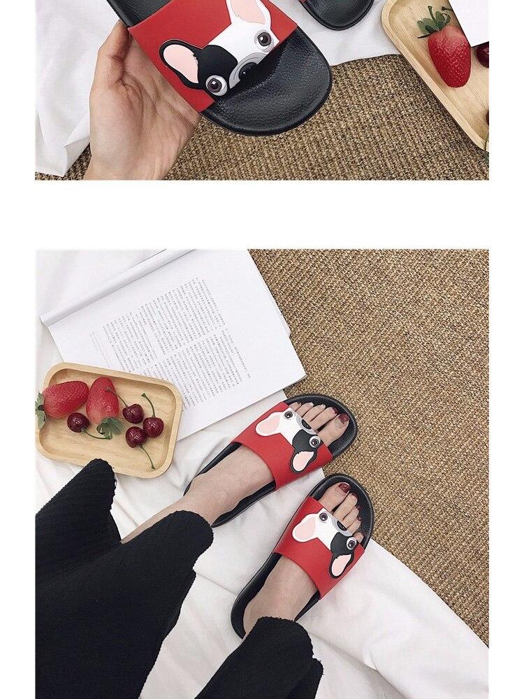 18 Fashion Animal Bulldog Slippers Summer Sandals Beach Flip Flops Skid Indoor Woman Shoes Women Slides zapatillas Mujer 6