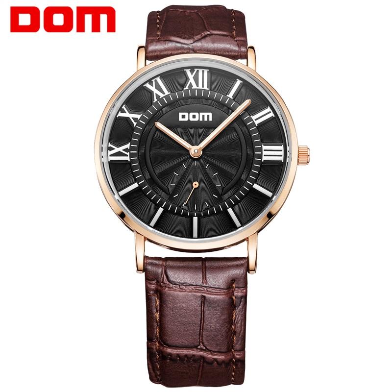 ФОТО DOM watch man top brand luxury waterproof leather watches  reloj hombre marca de lujo M-3211