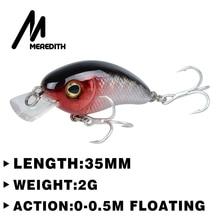 MEREDITH FISHING 35mm 2g Mini Crazy pesca Crankbait Hard Crank Bait Tackle Artificial Fishing Lures Swimbait Fish