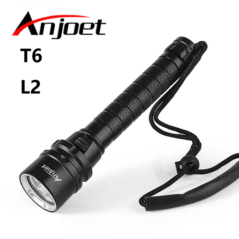 Anjoet Diver Lamp 100M Underwater 3x XM-L2 LED Scuba Diving Flashlight Torch Waterproof LED Flash Light Lantern For 18650 underwater 100m 7000 lumens 4xcree xm l l2 led waterproof scuba diver diving led flashlight torch lamp for 18650 26650 battery