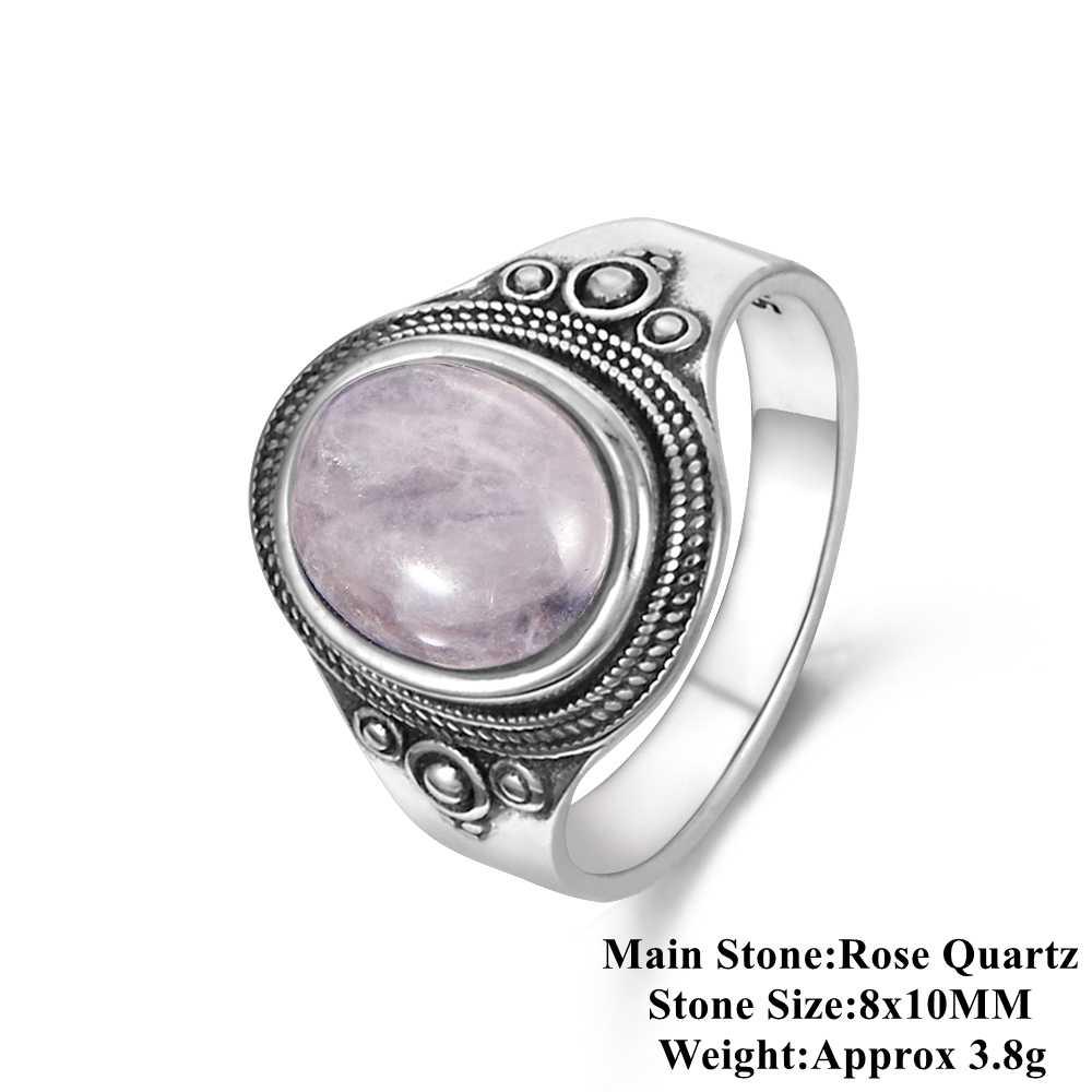 Nasiya розового натурального 8x10 мм розовый кварц Для женщин кольца 925 драгоценности из серебра и камней вечерние Юбилей, подарок на день рождения, повседневной жизни
