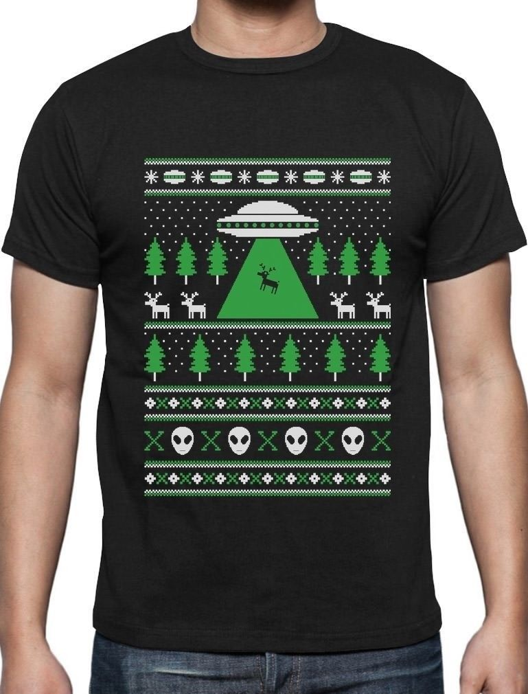 Alien Reindeer Abduction Ugly Christmas Sweater T Shirt Xmas Newest ...