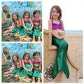 Cosplay Traje de Juegos de Los Niños para La Muchacha de cola de Pescado Princesa Ariel Sirena Falda Conjuntos de Lujo Verde Caliente Niños traje de Baño Traje de Baño