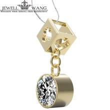 Jewellwang Moissanites Pendants For Women Certified Color De/LC 0.3ct Luxury Fantasy Saline Lake 18K Yellow Gold Poker Original