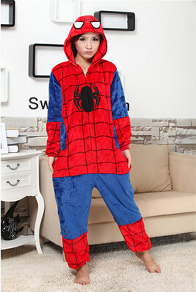 Pajamas Spiderman Onesies Cosplay Costume Hoodies Comfortable Sleepwears Animal Adult Unisex Jumpsuit