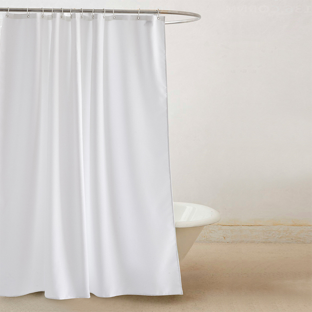 YUN YANG Simple Shower Curtain With Hooks White Walf Checks Bathroom Multi Size Waterproof Mildew