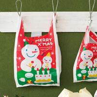 100pcs Pack Snowman Pattern Christmas Plastic Bag Candy Biscuit Packing Handle Bag Baking DIY Cake Gift