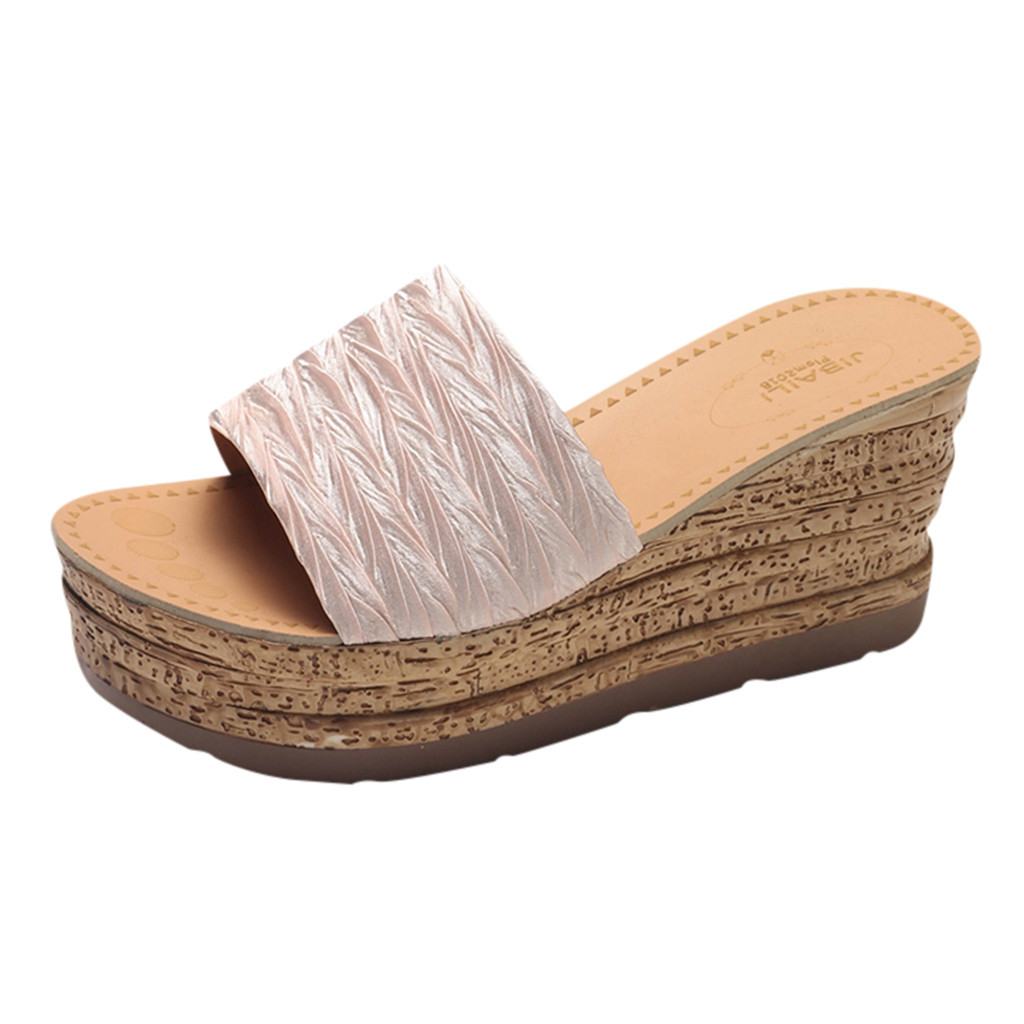 Women Fashion Wedge Slippers Simple Casual Slippers Solid Color Comfortable Summer British Wind Wedge Heel for travel hot Mar 8Women Fashion Wedge Slippers Simple Casual Slippers Solid Color Comfortable Summer British Wind Wedge Heel for travel hot Mar 8