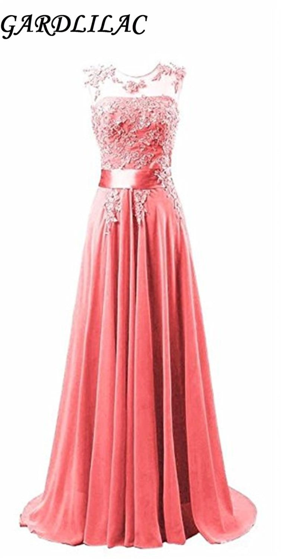 Gardlilac Chiffon Sleeveless Long bridesmaid Dress With appliques Wedding party dress Vestido De Madrinha De Casamento Longo