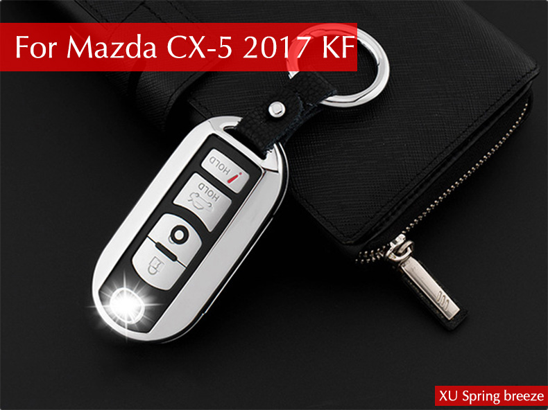 For Mazda CX-5 CX5 2017 2018 KF 2nd Gen Car Smart Key Case Key Shell Wallet Protective Cover Zinc Alloy Car styling for mazda cx 5 cx5 2017 2018 kf 2nd gen car co pilot copilot stroage glove box handle frame cover stickers car styling