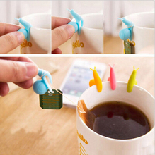 10 PCS/lot Cute Snail Shape Silicone Tea Bag Holder Cup Mug Candy Colors Gift Set GOOD Random Color!