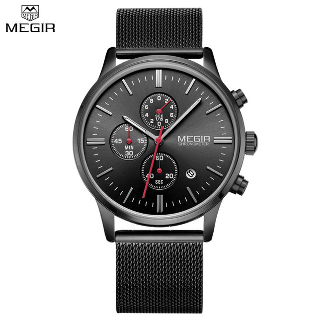 MEGIR Official 2017 Quartz Male Watches Stainless Steel Watches Racing Men Students Game Run Chronograph Watch Male Glow Hands
