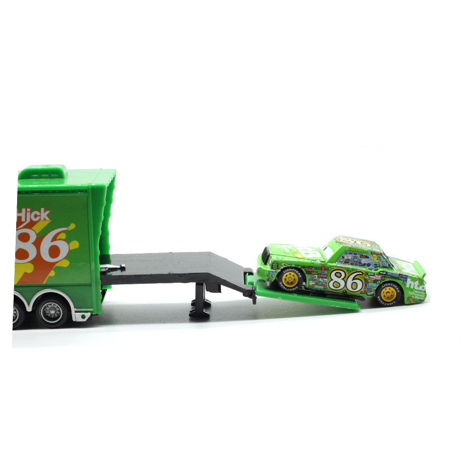 Купить с кэшбэком Disney Pixar Cars 2 Toys 2pcs Lightning McQueen Mack Truck The King 1:55 Diecast Metal Alloy Modle Figures Toys Gifts For Kids