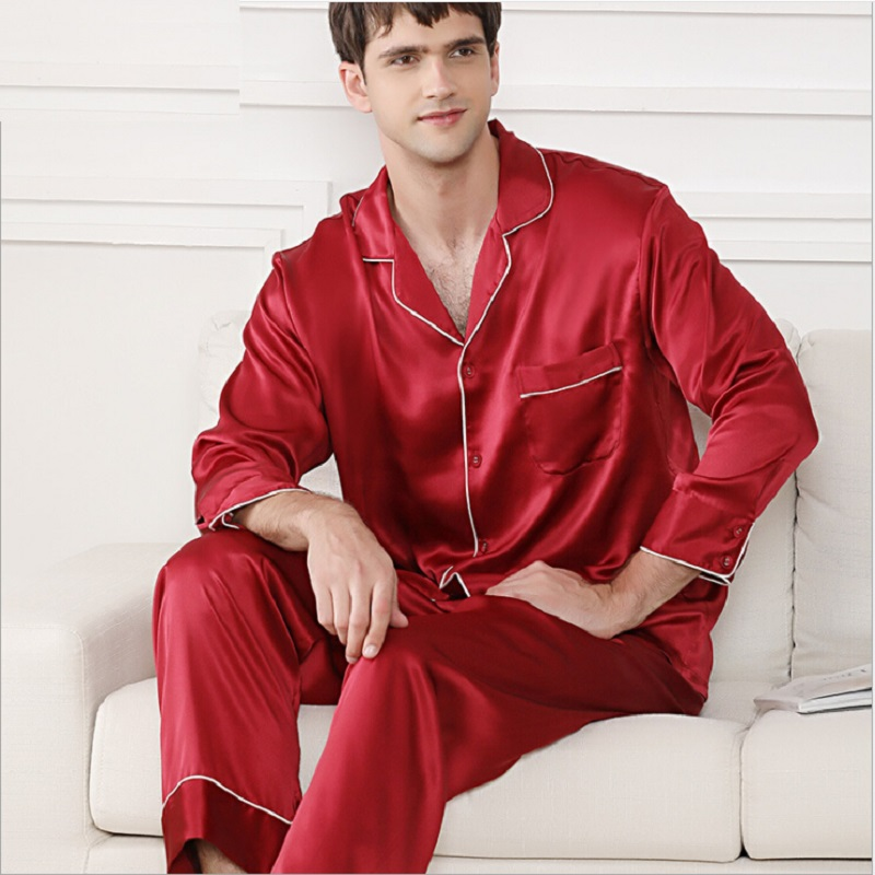 Men Pajamas Set Silk Stain Summer Autumn 2019 New Long Sleeve Top And Pants Two Piece Sets Homewear Night Suit For Men Pijamas