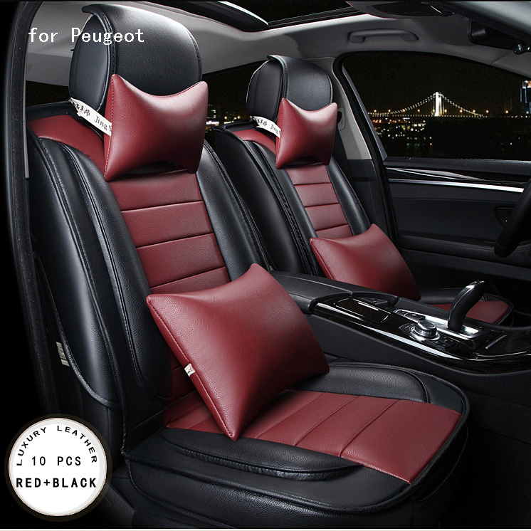 for peugeot 307 206 308 407 3008  orange red brown brand designer luxury pu leather front&rear full car seat covers four seasons for peugeot 206 207 307 308 301 406 407 3008 new brand luxury soft pu leather car seat cover front