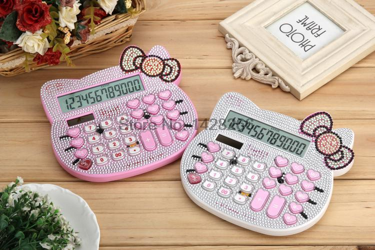 2016 New 12 digit pink cute hello kitty solar calculator wholesale calculator no voice cute calculator