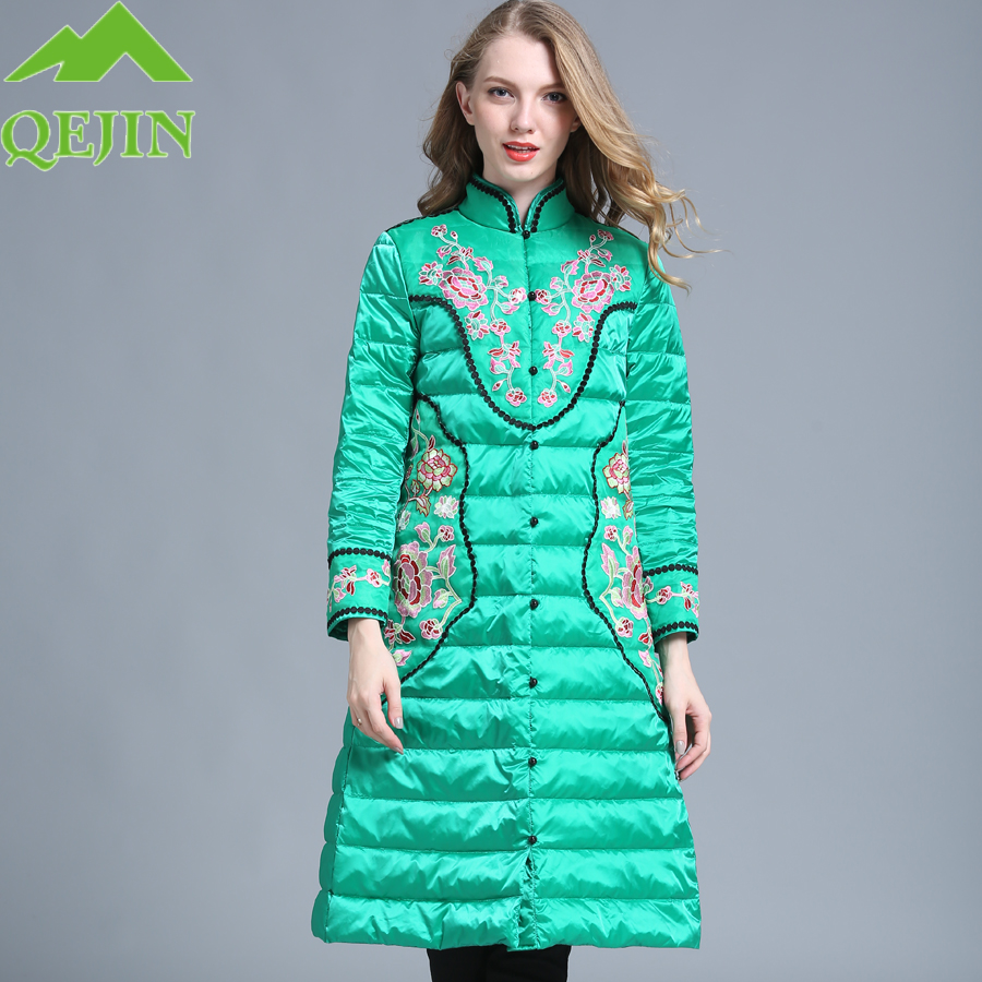 Womens down jacket Winter coat High Quality Women 90 White duck down parkas flower Embroidery Stand Collar Warm thick outerwear