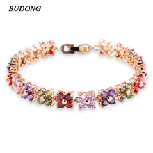 BUDONG 20cm Women Four Leaf Clover Chain Bracelets  White Gold Plated Bracelet Fashion Crystal Cubic Zirconia Jewelry xuL109