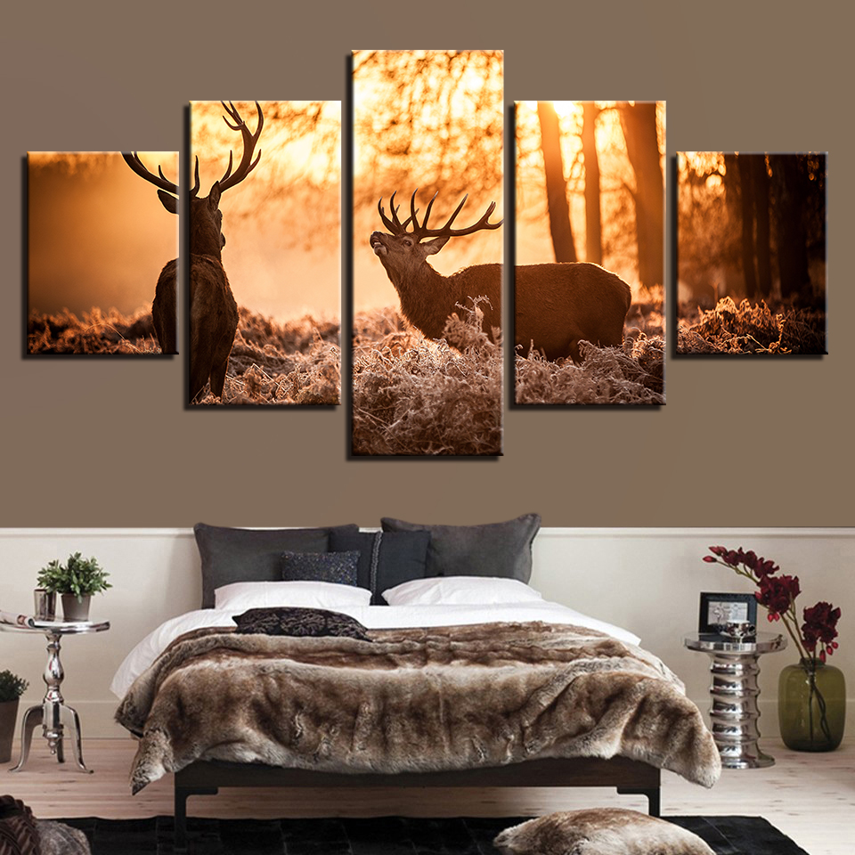 Animal Print Deer Bear Lion Cat Canvas Paintings Poster Wall Print Canvas 5 Panel Home Decorations Living Room Abstract 247