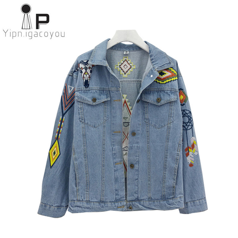 Vintage Basic Coat Women Jeans Jacket Big size Ladies Korean Embroidery Jacket Denim Women Coat Harajuku