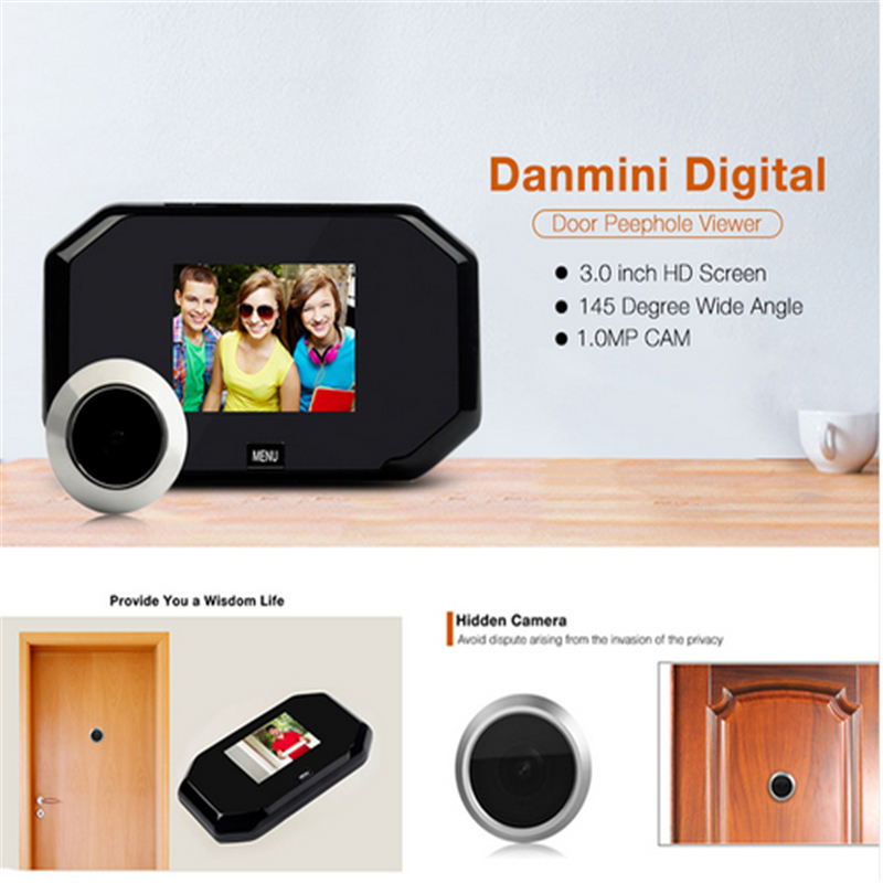 DANMINI 3.0 LCD Video Doorbell Door Peephole Viewer Home Security Doorphone Camera Monitor Support 32G TF Card Doorbell Camera