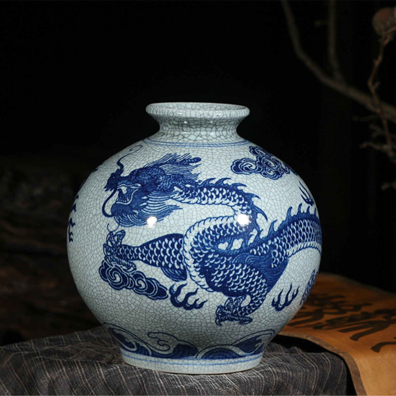 Jingdezhen Home Decoration Flower Vase Pomegranate Vase Modeled Antique Blue and White Dragon Vase Decoration Furnishing Article