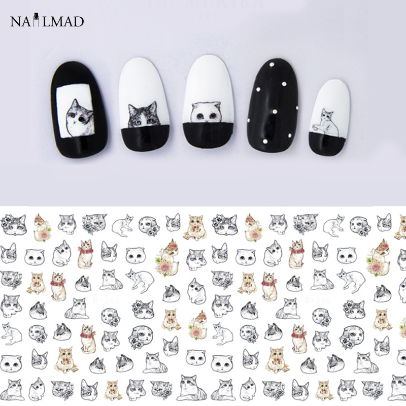 1 sheet Cat Water Transfer Nail Stickers Cat Nail Decals Nail Art Sticker Tattoo Decals yzwle 1 sheet chic flower nail art water decals transfer stickers splendid water decals sticker yzw 1398