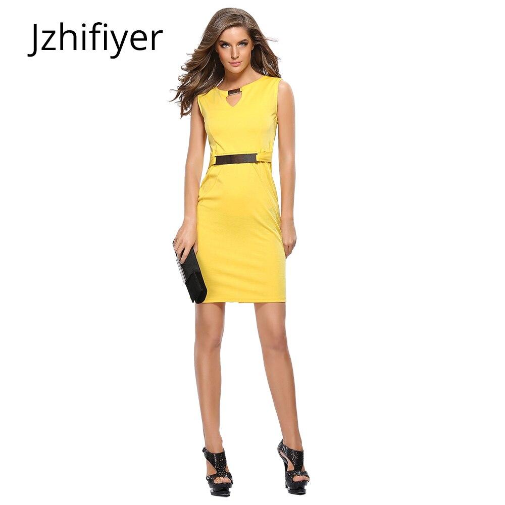 womens v neck mujer yellow vestidos fashion feminine dresses pencil vintage ladies summer clothing