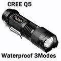 Waterproof CREE Q5 Led Flashlight 7W Camping Lantern Torch Lamp 2000 Lumens 3-Mode Adjustable Flashlight Zoomable 14500/AA ZK91