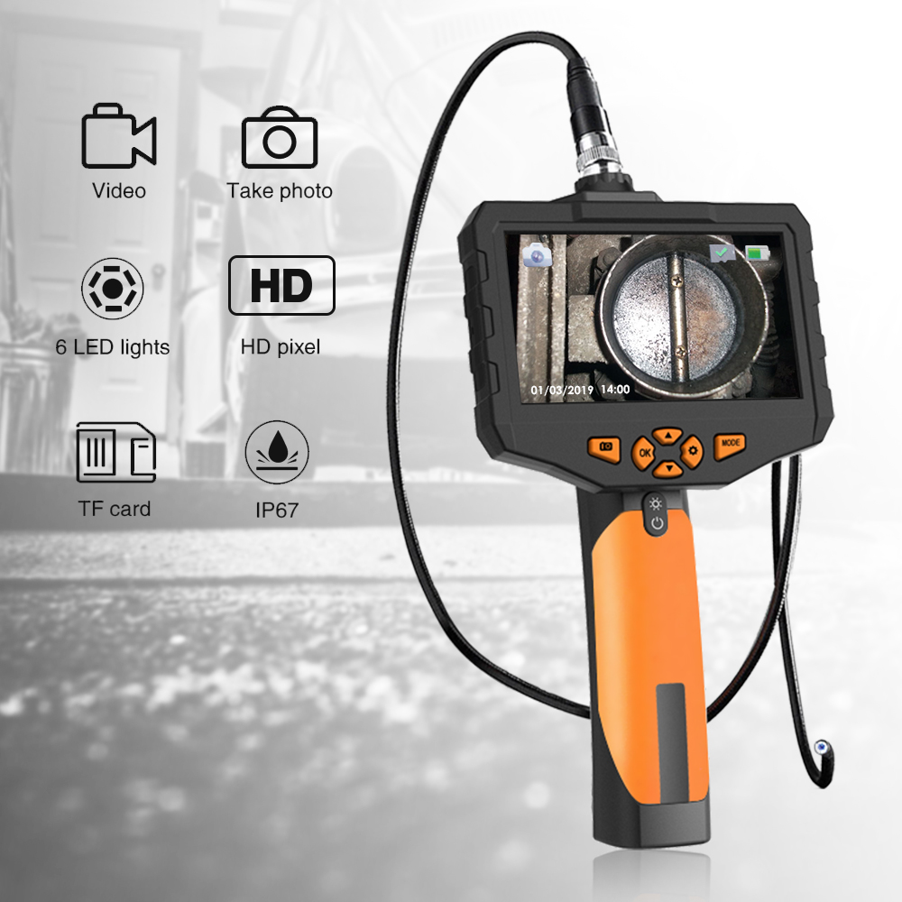 Newest 1080P HD Waterproof Borescope Inspection Camera with 6 LED Lights Teslong Industrial Endoscope with Upgrade 4.3 Screen 2600mAh Battery 5m