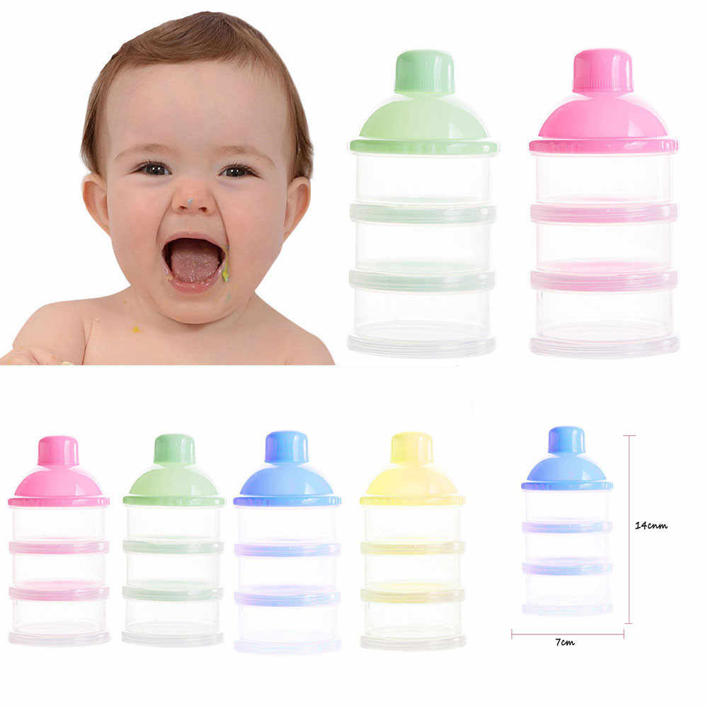Hot Sale Portable Baby Bottle Milk Box Powder Dispenser Container 3 Layers Storage Formula Feeding Safe PP biberon mamadeira14CM