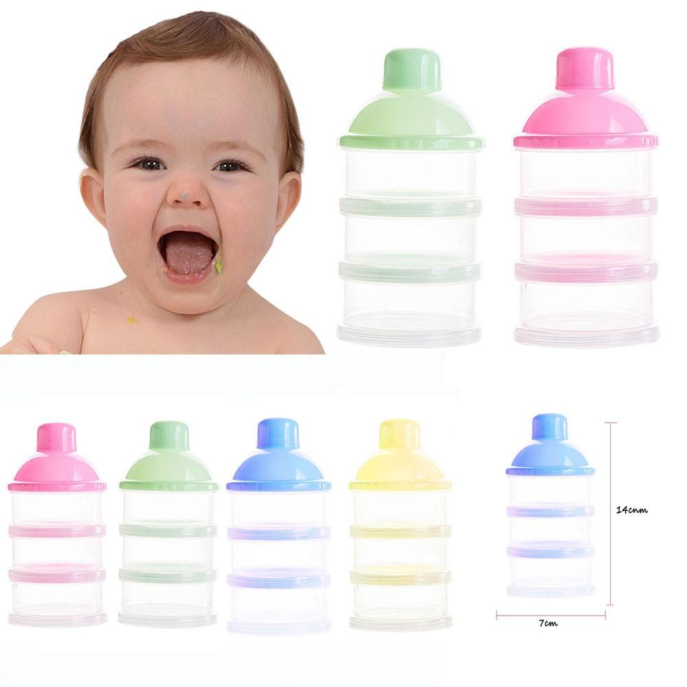 Hot Sale Portable Baby Bottle Milk Box Powder Dispenser Container 3 Layers Storage Formula Feeding Safe PP Biberon Mamadeira14CM