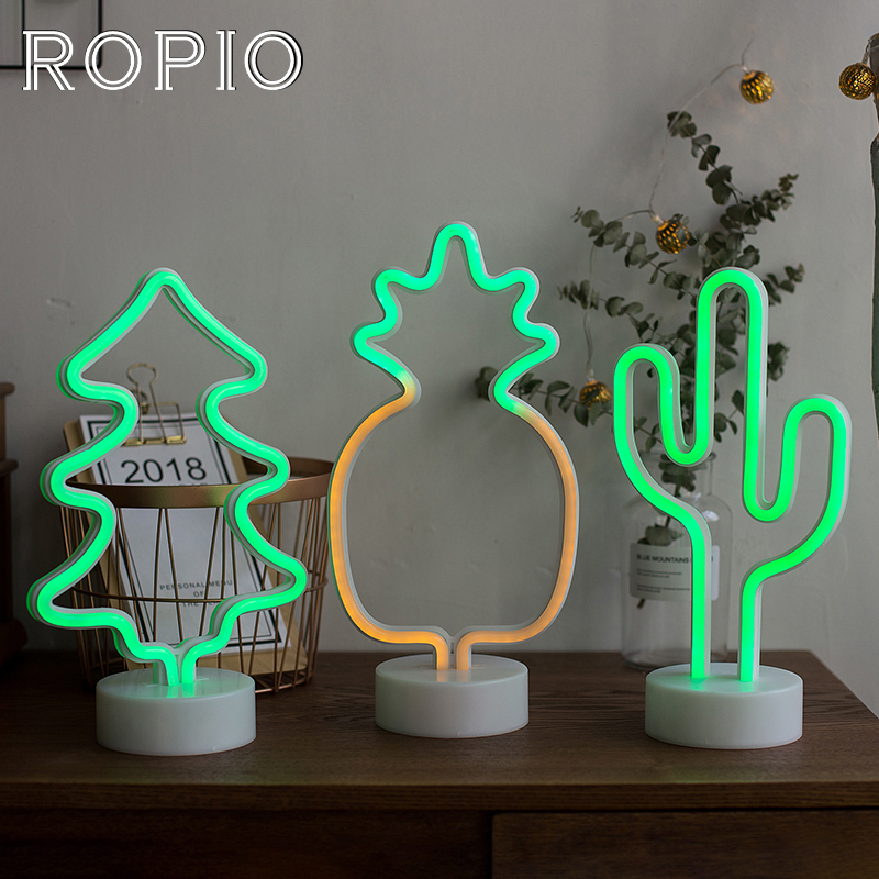 ROPIO Abajur Night Light Desk Lamp LED Neon Cactus Pineapple Christmas Tree Battery Operated for Home New Year Wedding Decor