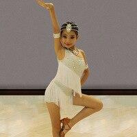 Red Kids Latin Dresses For Girls White Fringe Dress Rhinrstone Flamengo Tango Salsa Dress Competitive Stage Dance Dress BL1319