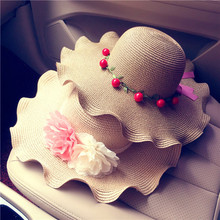 Summer Women Sunhats Oversized Ruffles Bow Beach Hat Female Sun Protection Straw Cap Floral Patchwork Straw Hat Travel