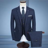 (jacket+pants+vest) Men Custom Made Business Suit Plaid Suits Navy Blue Blazer Classic Gray Tuxedo Groom Wedding Dress Coat