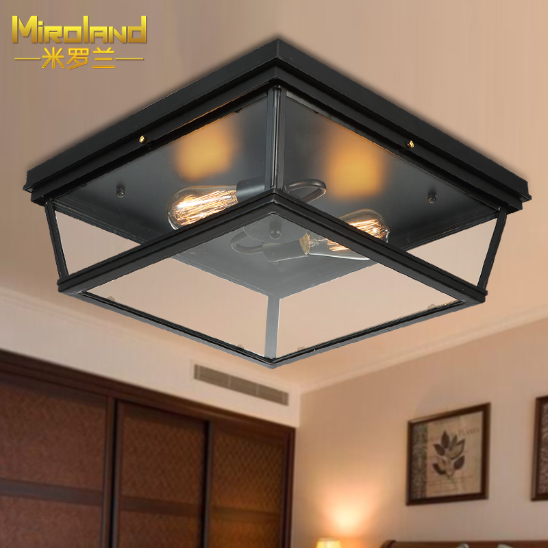 American minimalist bedroom ceiling retro industrial wind corridor balcony porch lights iron staircase aisle retro matte black iron ceiling light american industrial iron lights