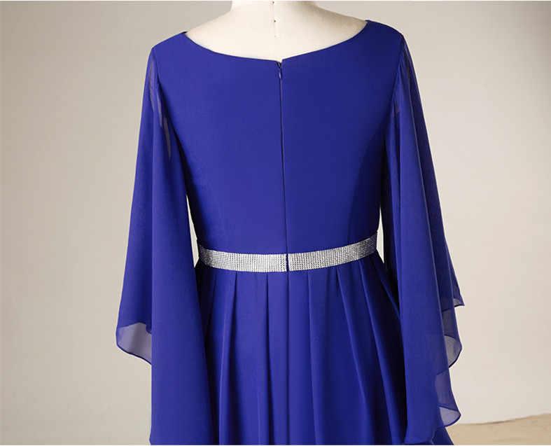 JaneVini cristal azul real Madre de la novia vestidos de una línea de manga larga cuello en V gasa Formal vestidos de fiesta de noche talla grande