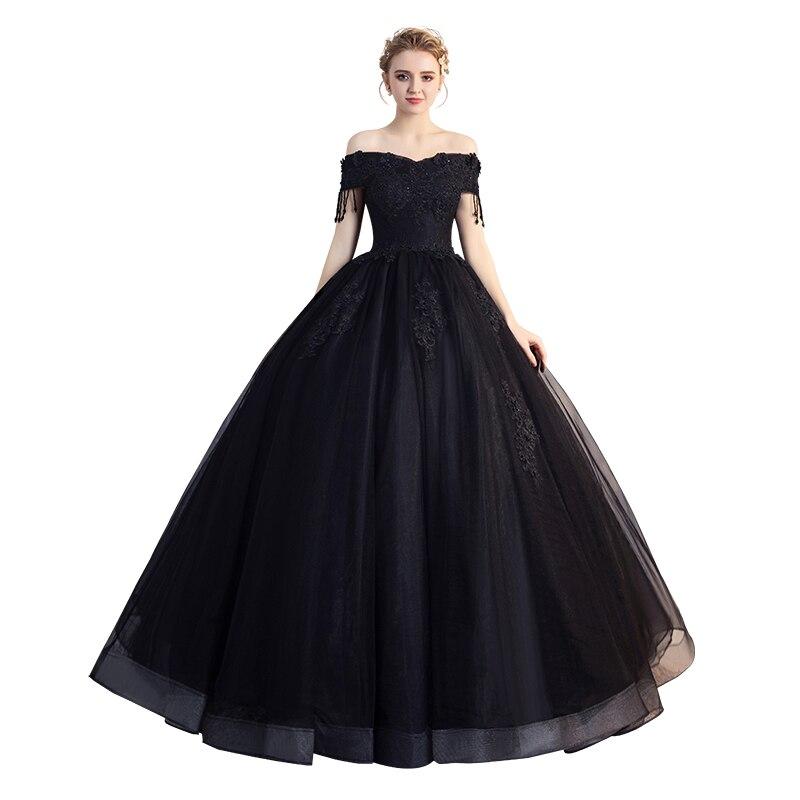 Noir épaule dénudée robe de bal 2019 nouvelles robes de Quinceanera élégant col bateau dentelle broderie perles grande taille robes de bal L