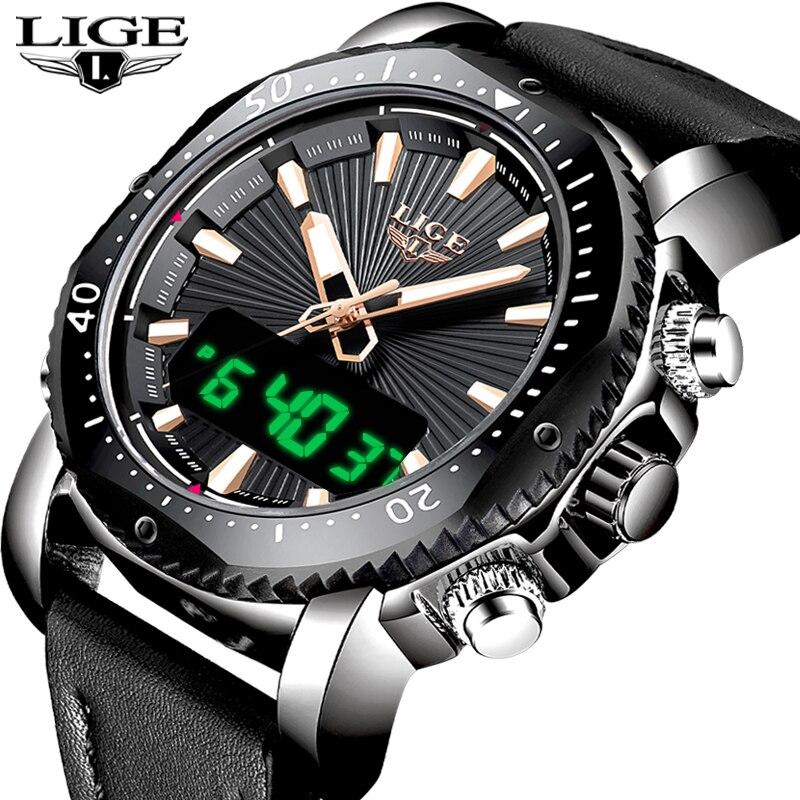 Nova LIGE Mens Relógios Top Marca de Luxo Original 30 M Miliar Dupla Afixação À Prova D' Água Esportes Homens Relógio De Couro Relógio de Pulso