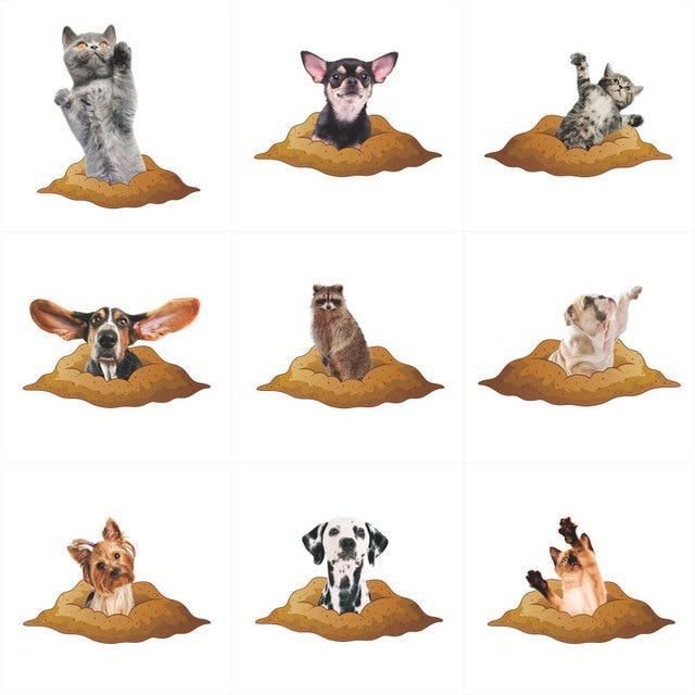Забавные кошки собаки 3D яркая наклейка на крышку в туалете украшения ванной комнаты животные домашний Декор автомобиля настенное украшение Искусство Плакат