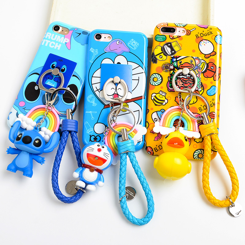 For iPhone 7 /7 plus Stitch case, Cute Stitch TPU back cover case For iPhone 8 8plus 6 6S 5S SE X phone cover + ring + pendant