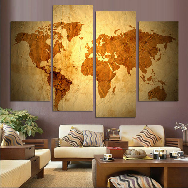 No frame 4 panels luxury world map canvas painting wall art picture no frame 4 panels luxury world map canvas painting wall art picture paint on canvas prints gumiabroncs Gallery