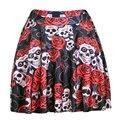 Faldas curto Saia Feminina 2015 Mulheres Estilo Harajuku Sexy Verão Saia Rosa Do Crânio Flores 3D Impressão De Seda Saia Saias Casuais