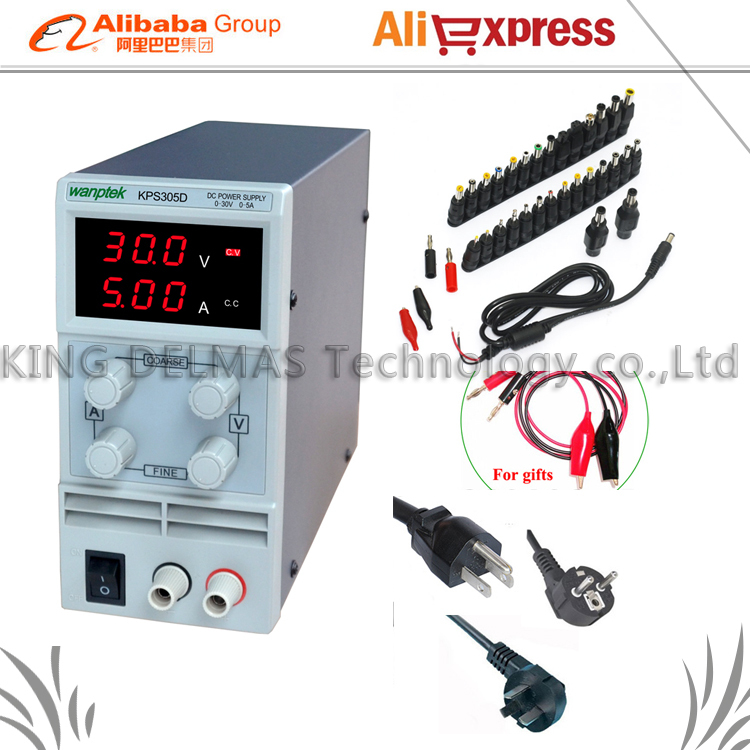 Mini Adjustable Digital DC power supply 0~30V 0~5A 110V-220V Switching Power supply 0.1V/0.01A FOr US/EU/AU Plug+34/pcs dc jack kps10010d high power adjustable switching dc power supply 0 100v 0 10a 110v 220v precision digital dc power supply us eu au plug