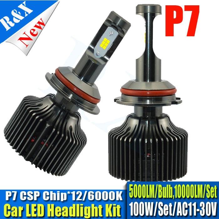 Set 100W 10000LM P7 CSP DRL 9004 led headlight lamp Hi/Lo car auto led headlight bulbs aluminum led headlight auto headlights 2 w p w v p10000 10000 waka ddc12