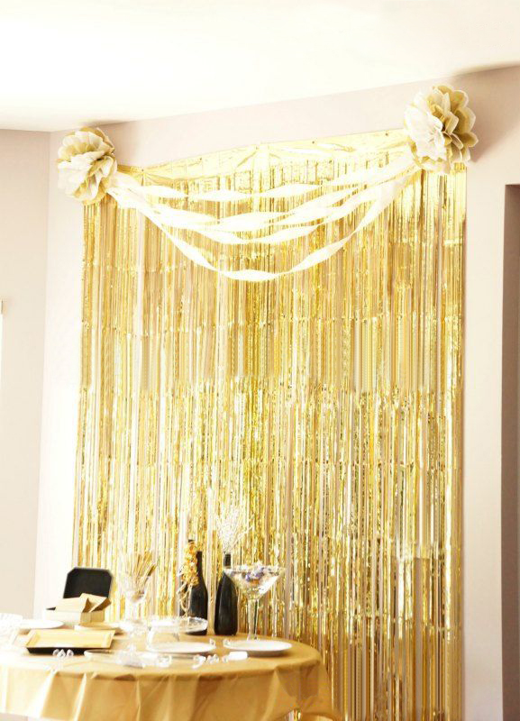 Lovely Metallic Gold Foil Fringe Curtain 3 Ft. X 8 Ft. Foil Party Background Tinsel
