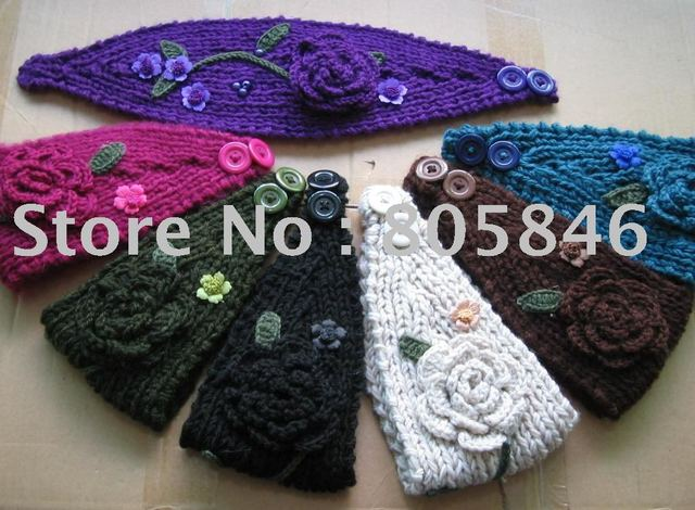 Free Shipping Hand made Knit Headwrap Headband Ear Warmer with Hand Crochet Flowers, Hand Crochet Leaves and Beads