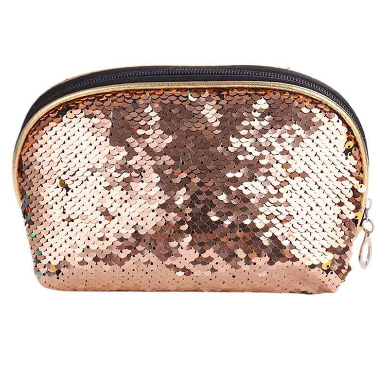 e8b36e9ee7eb New Fashion Mermaid Sequin Pencil Case Cosmetic Makeup Coin Pouch Storage  Zipper Purse Hot Cosmetic Bags(Champagne+Gold)